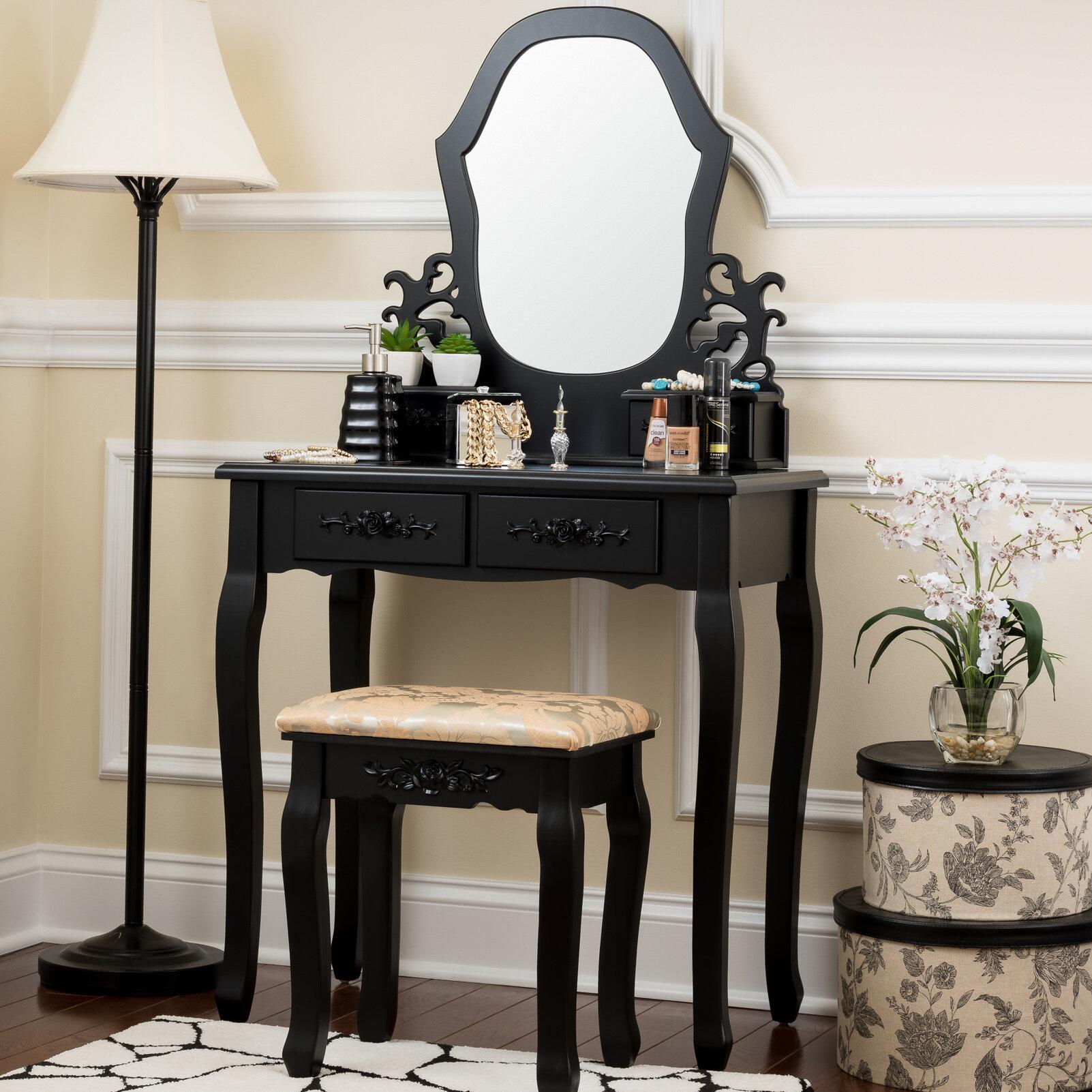 fleur de lis living demello antique vanity set with mirror reviews