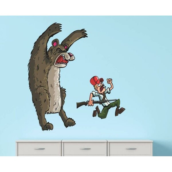 Animated Bear Running Fearing Man with Rifle Wall Decal by Design With Vinyl