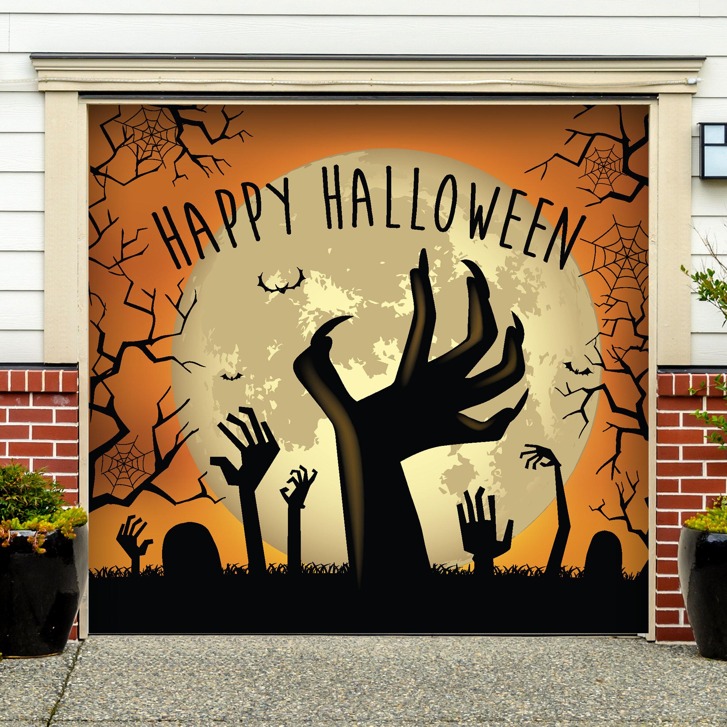 The Holiday Aisle Happy Halloween Graveyard Zombie Hands Garage Door ...