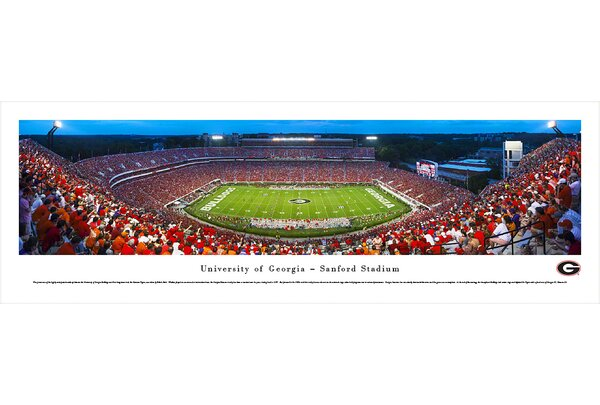 NCAA Georgia, University of - 50 Yard Line - Twilight by Robert Pettit Photographic Print by Blakeway Worldwide Panoramas, Inc