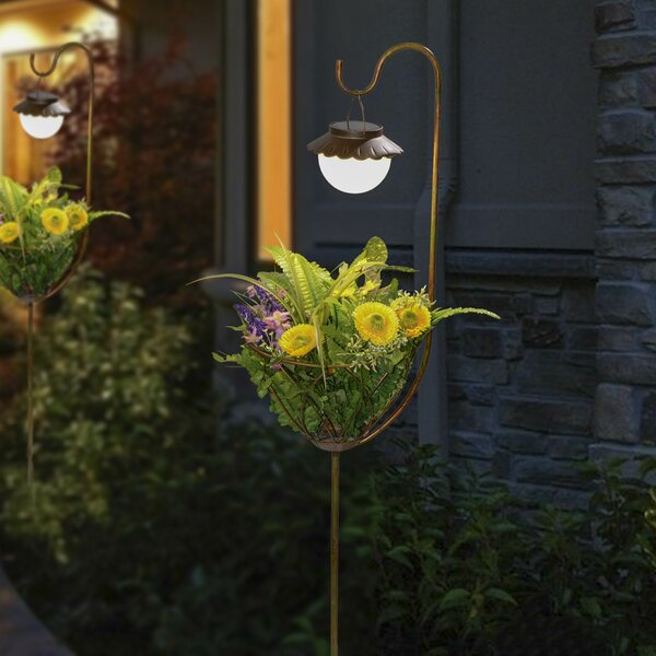 Pedestal Plant Stand with Solar Light by Winsome House