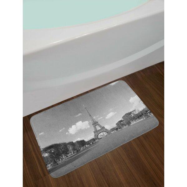 Famous Grey Eiffel Tower Bath Rug by East Urban Home