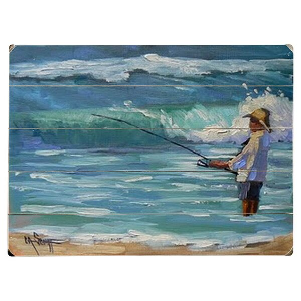 Surf Fisherman by Carol Schiff Graphic Art Print Multi-Piece Image on Wood by Artehouse LLC