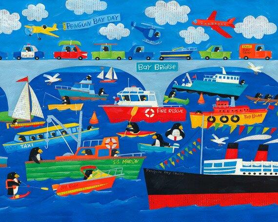 Penguin Bay Day Canvas Art by Oopsy Daisy