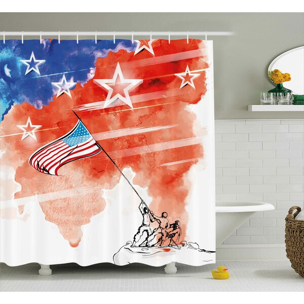 4th of July Vintage Digital Style Statue of Liberty Figure With Usa Flag Art Graphic Print Shower Curtain by The Holiday Aisle
