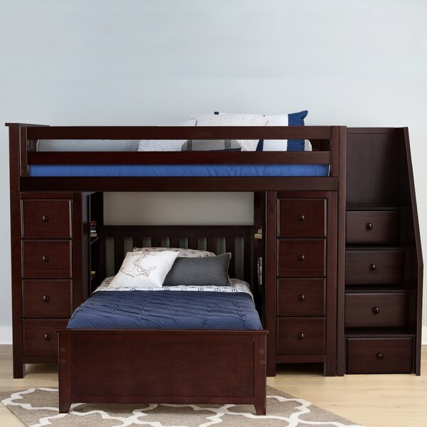 Ayres Twin L-Shaped Bunk Bed with Drawers and Shelves by Harriet Bee
