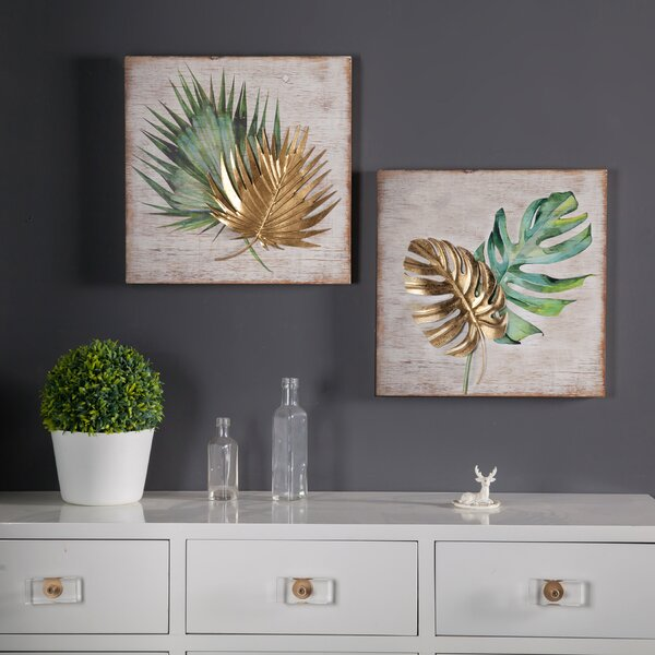 2 Piece Leaf Wall Décor Set by Bay Isle Home