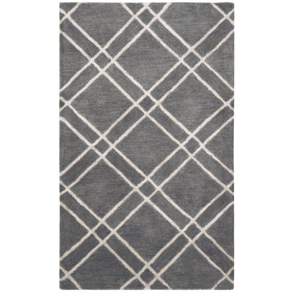 Dirks Hand-Tufted Wool Dark GrayArea Rug by Charlton Home