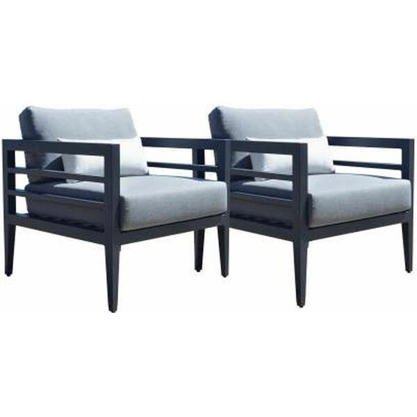 Cremont Patio Dining Chair with Cushion (Set of 2) by Longshore Tides