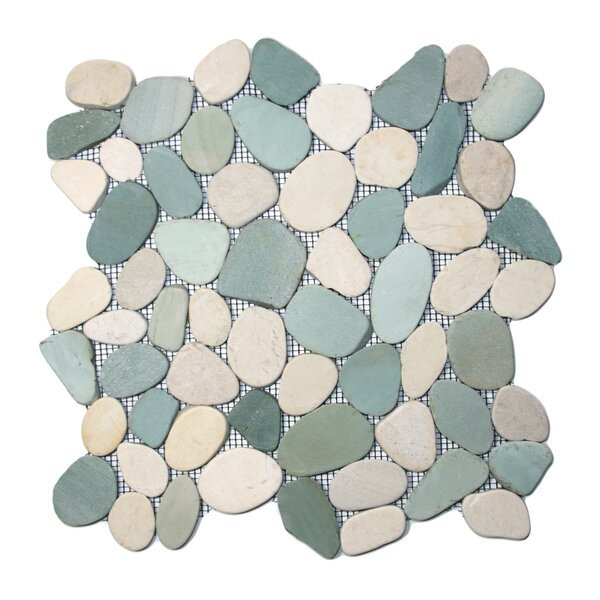 Ganges Random Sized Natural Stone Mosaic Tile in Gray/Cream by CNK Tile