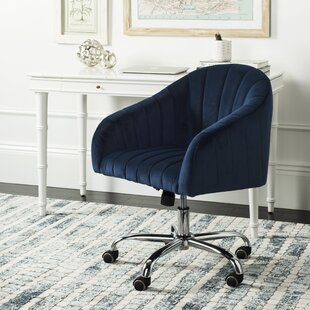 Good Balcom Velvet Swivel Mid Back Desk Chairvelvet In Navy