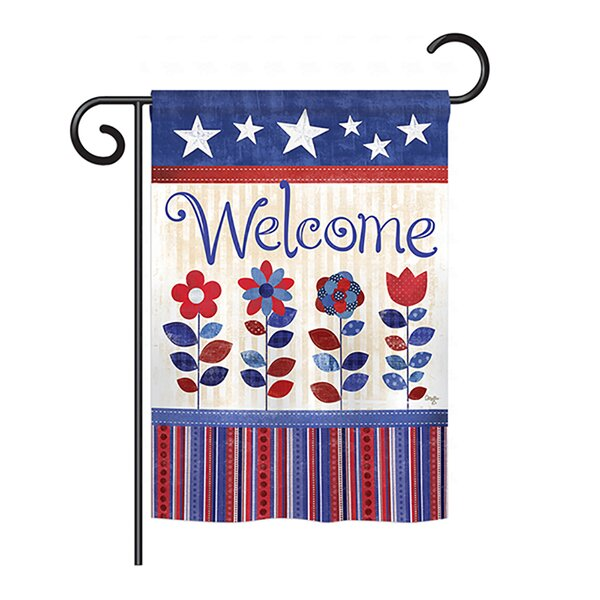 Patriotic Welcome 2-Sided Vertical Flag by Breeze Decor