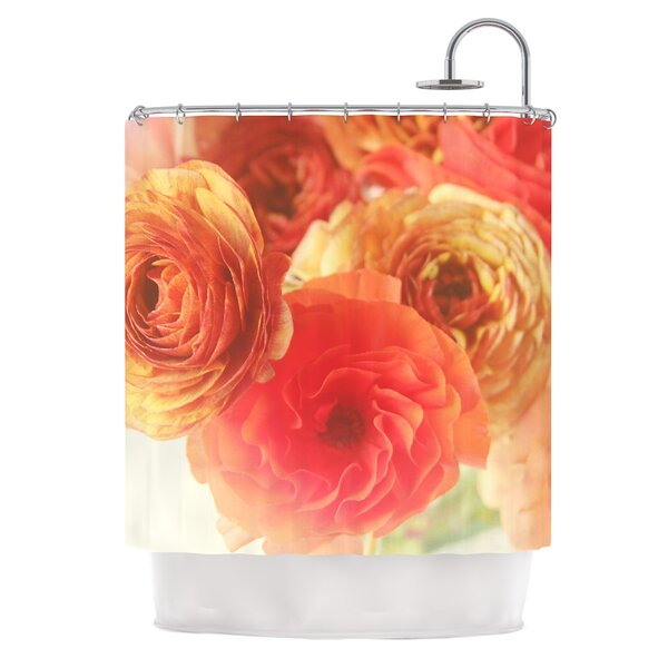Coral Ranunculus by Debbra Obertanec Floral Shower Curtain by East Urban Home