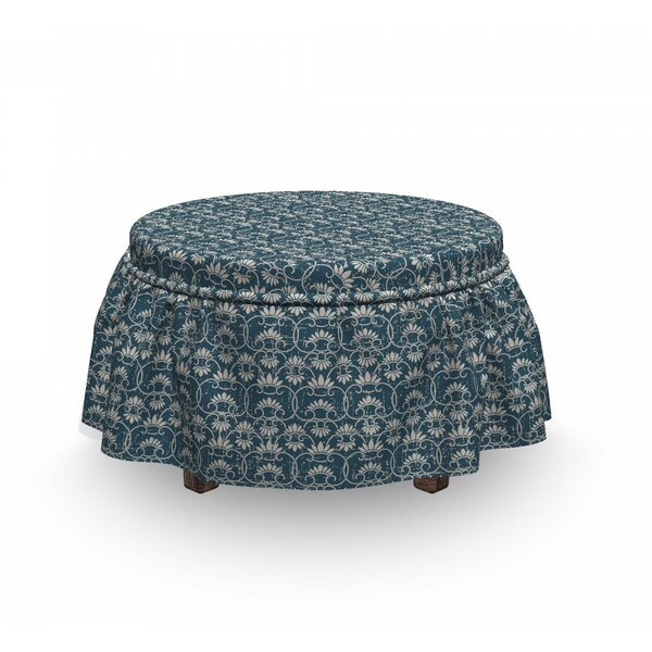 Chinese Floral Motifs Ottoman Slipcover (Set Of 2) By East Urban Home