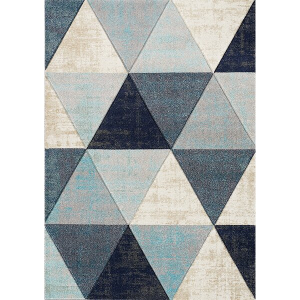 Artimacormick Distressed Triangles Blue/Gray Area Rug by Ivy Bronx