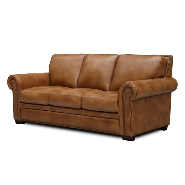 Londyn Leather Sofa by Millwood Pines Millwood Pines