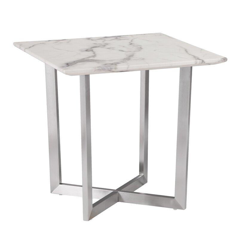 Wonderful Rosenbalm Faux Marble End Table