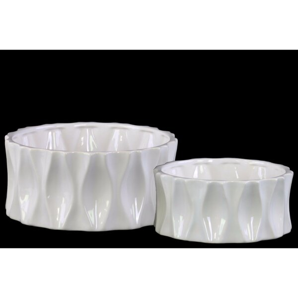 Lyco Dimpled 2-Piece Ceramic Pot Planter Set by Wrought Studio