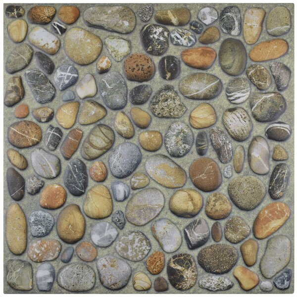 Porcelana 12.13 x 12.13 Porcelain Pebble Tile in Brown by EliteTile