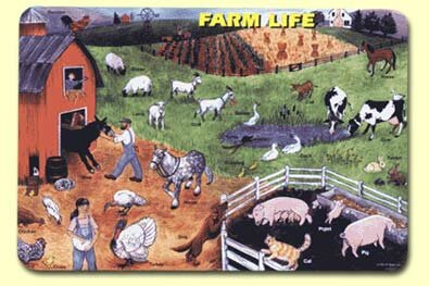 Farm Life Placemat (Set of 4) by Painless Learning Placemats