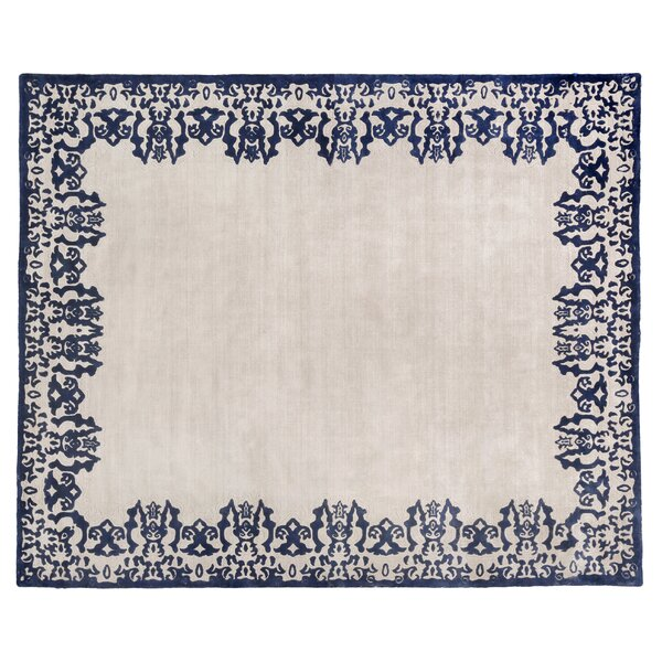 Antolini Hand-Woven Ivory/Blue Area Rug by Exquisite Rugs