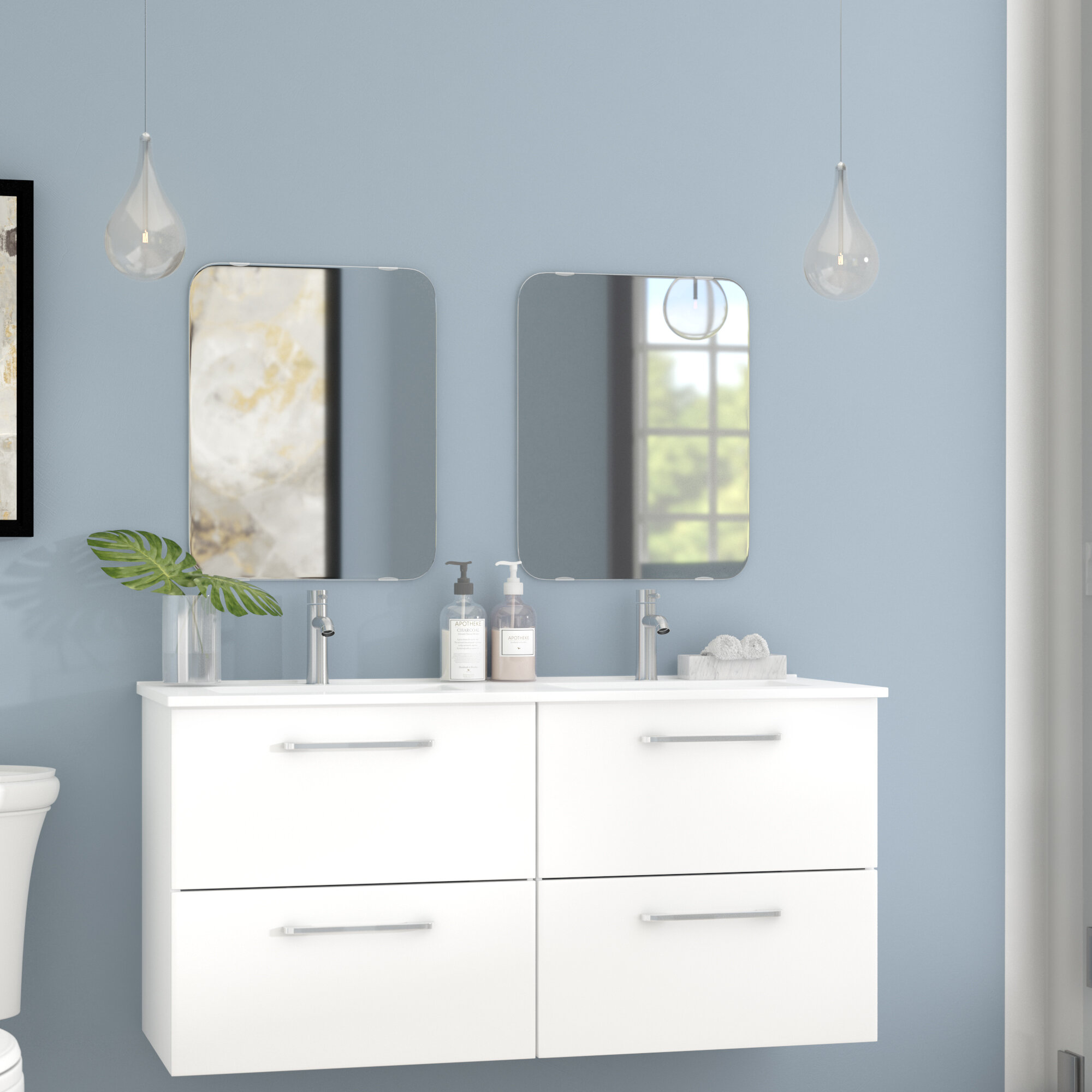 Orren Ellis Iorio Modern 48 Wall Mounted Bathroom Vanity Set