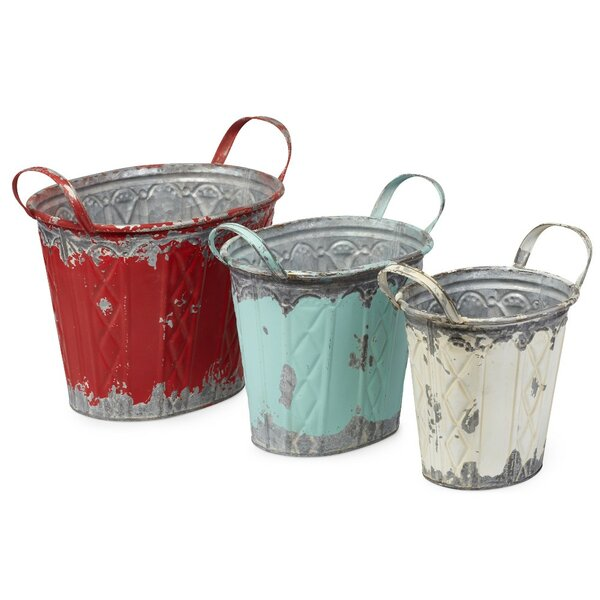 Oval 3-Piece Galvanized Sheet Pot Planter Set (Set of 2) by Benzara