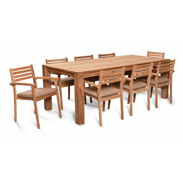Culbertson 9 Piece Teak Dining Set with Cushions by Highland Dunes