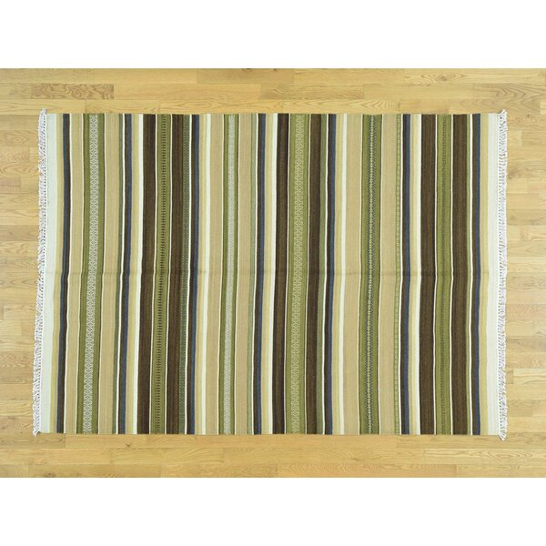 One-of-a-Kind Beckham Reversible Striped Handmade Kilim Wool Area Rug by Isabelline