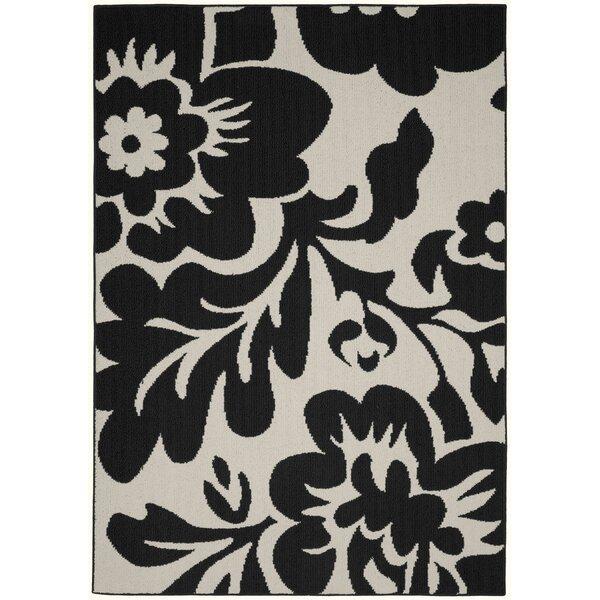 Floral Garden Black/Ivory Area Rug by Garland Rug