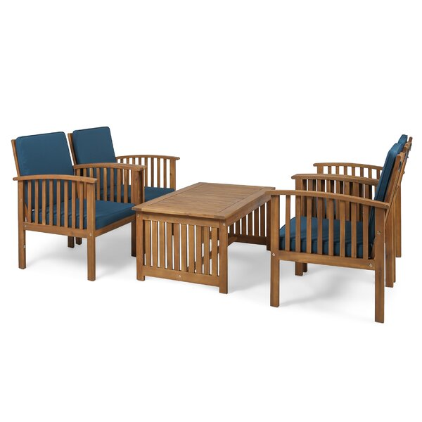 Bangor Outdoor 5 Piece Conversation Set with Cushions by Millwood Pines