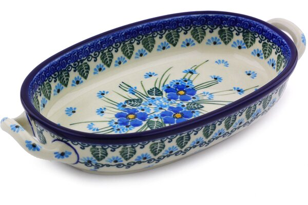 Polish Pottery Oval Non-Stick Baking and Roasting Dish with Handle by Polmedia