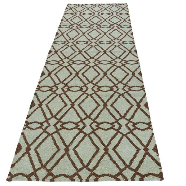 Reversible Flat Weave Durie Kilim Hand-Knotted Green Area Rug by House of Hampton