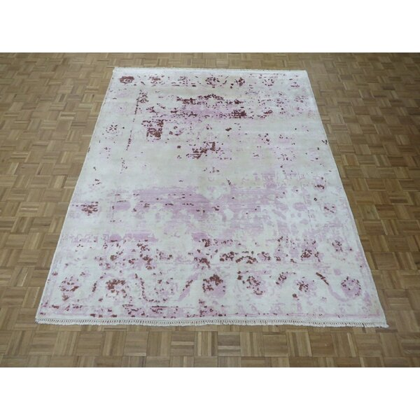 One-of-a-Kind Pellegrino Broken Hand-Knotted Wool Purple/Lavender Area Rug by Bloomsbury Market