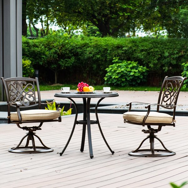 Harkins Patio 3 Piece Bistro Set with Cushion by Fleur De Lis Living