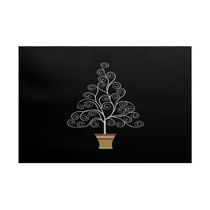 Filigree Tree Black Indoor/Outdoor Area Rug