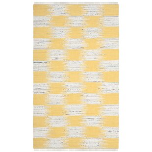 Opie Hand-Knotted Cotton Yellow/Gray Area Rug by August Grove