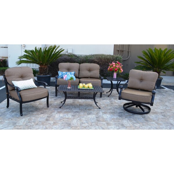 Nola 5 Piece Sunbrella Sofa Set with Cushions by Darby Home Co
