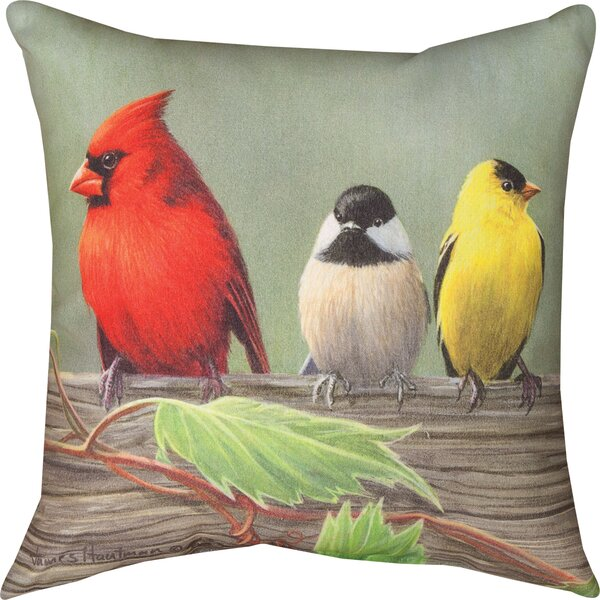 Birds on a Line Cardinal Knife Edge Throw Pillow by Manual Woodworkers & Weavers
