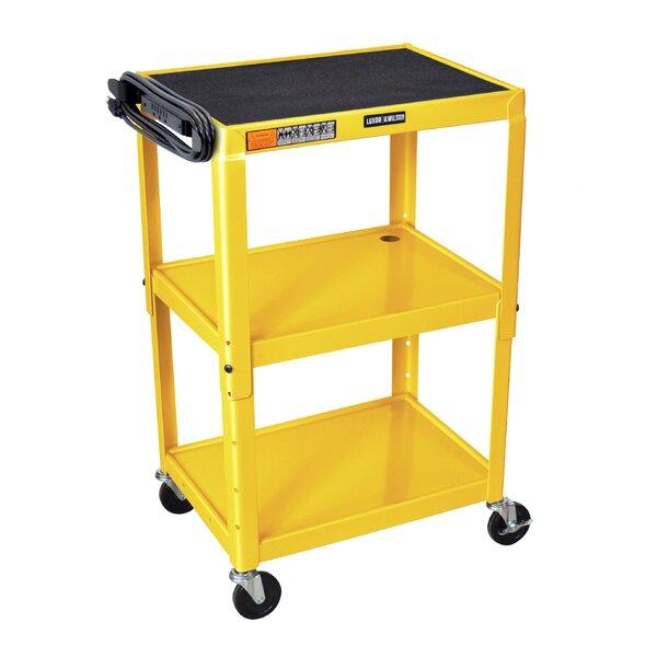 Adjustable Height Open Shelf AV Cart by Luxor