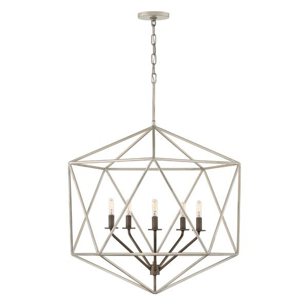 Athens 5 - Light Candle Style Geometric Chandelier By Mercer41