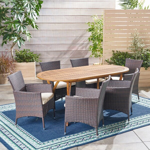 Crosby Outdoor 7 Piece Dining Set with Cushions by Bungalow Rose