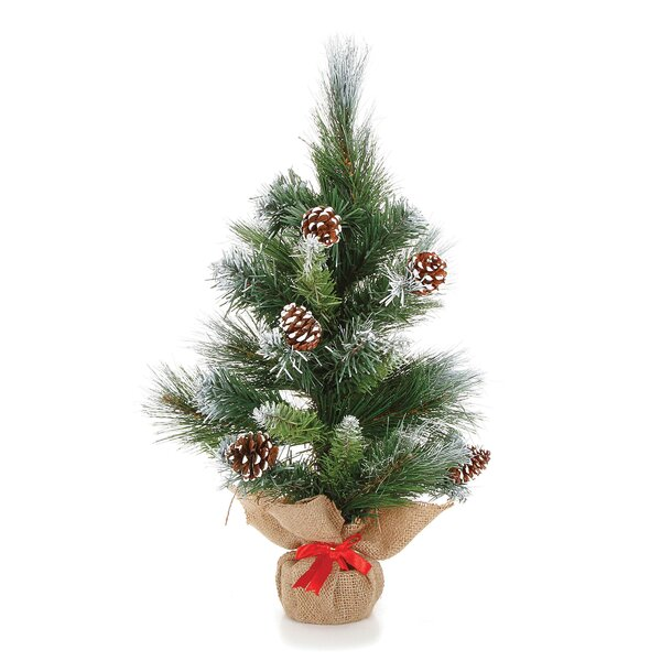 Mini 18 Green Pine Trees Artificial Christmas Tree with Snow & Pinecones by The Holiday Aisle