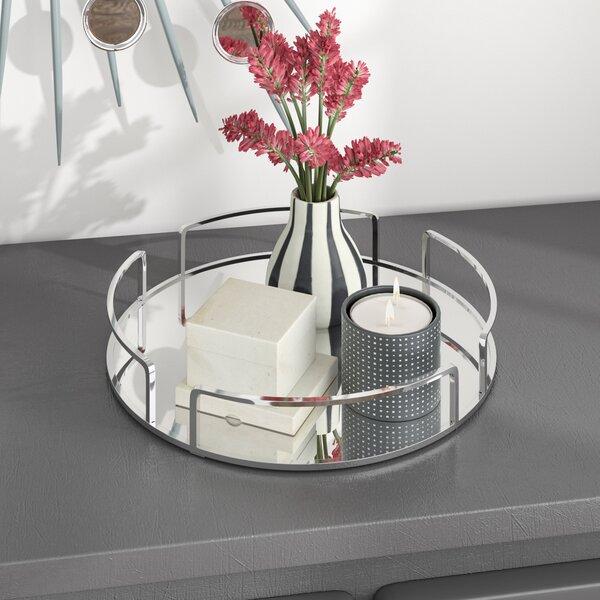 Erela Modern Round Design Mirror Vanity Tray By Orren Ellis.
