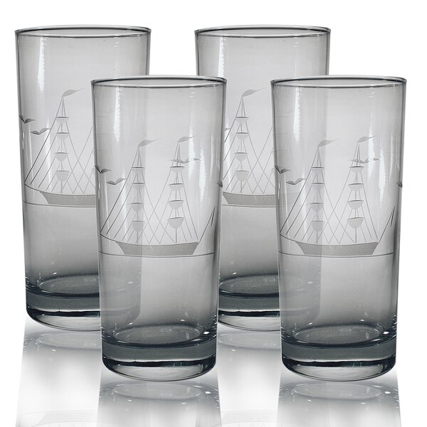 Clipper Ship Hand-Cut Hiball Glass (Set of 4) by Susquehanna Glass
