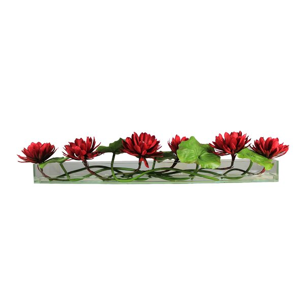 Casa 48'' Glass Plate Leaves Flower and Water Lilies Floral Arrangement in Planter by Bloomsbury Market