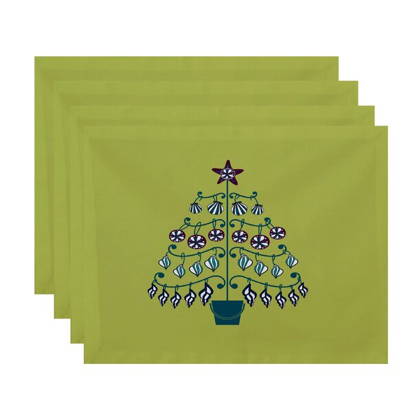 Winterview Tree Geometric Print Placemat (Set of 4) by Rosecliff Heights