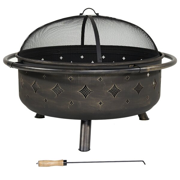 Diamonds Steel Wood Fire Pit with Spark Screen by Wildon Home ®