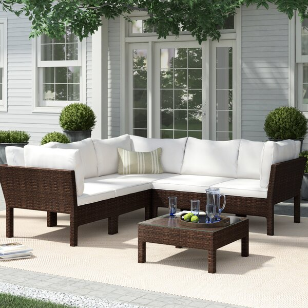 6 Piece Rattan Sectional Seating Group with Cushions by Birch Lane™ Heritage