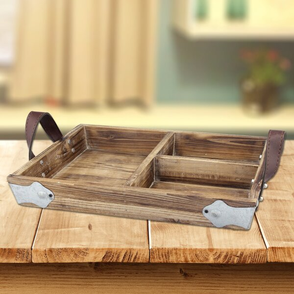 Wood Accent Tray with Leather Handles by CKK Home Décor, LP